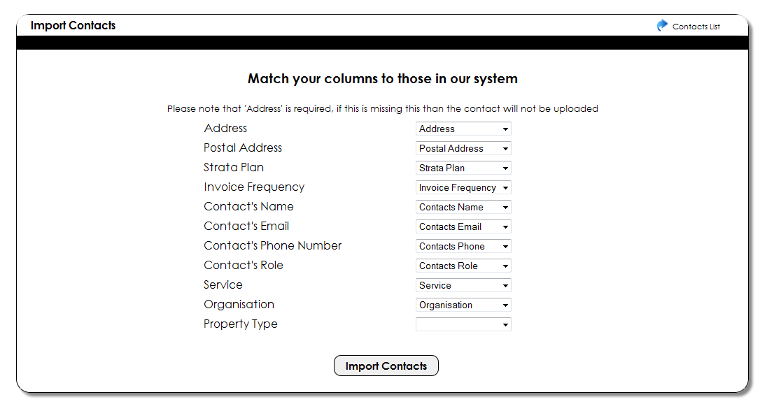Image for csv mapping on contacts page